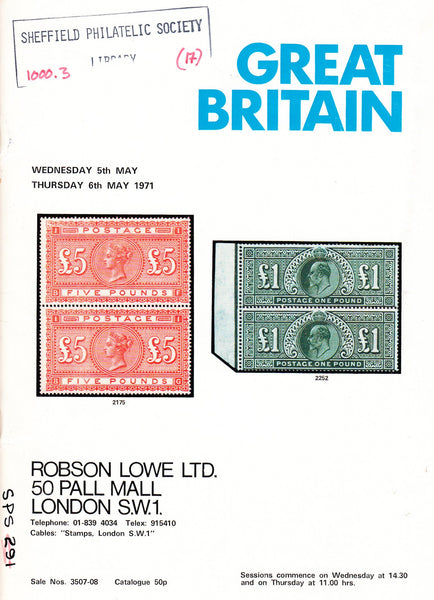 91381 - GREAT BRITAIN. Robson Lowe auction catalogue May 1...