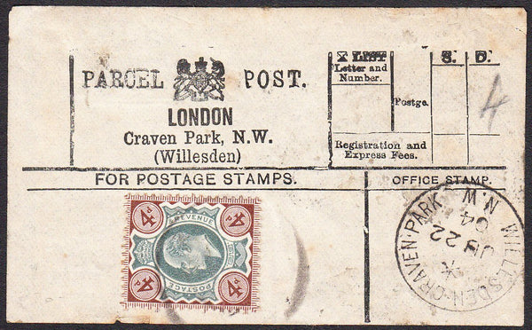91392 - PARCEL POST LABEL. 1904 label LONDON Craven Park, ...