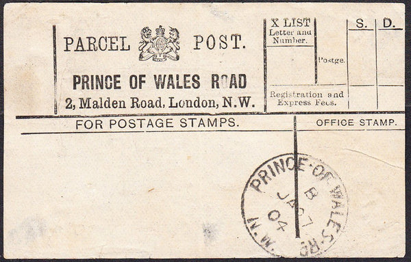 91406 - PARCEL POST LABEL. 1904 label PRINCE OF WALES ROAD...