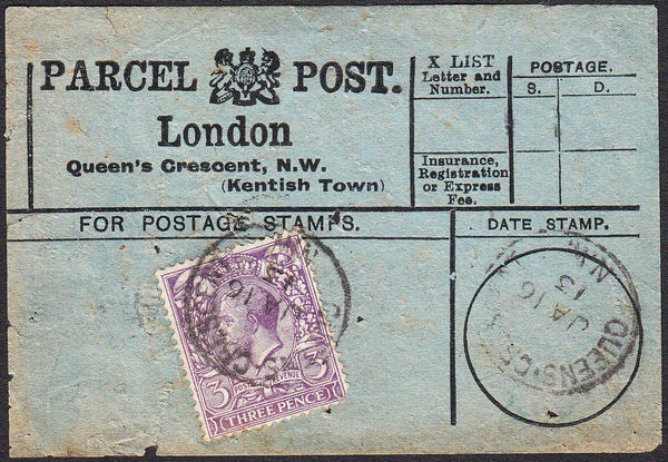 91409 - PARCEL POST LABEL. 1913 blue label (some faults) L...