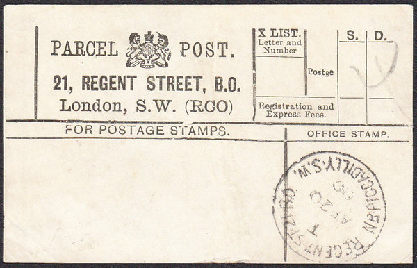 91410 - PARCEL POST LABEL. 1900 label 21 REGENT STREET, B....