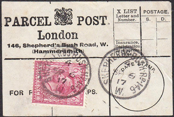 91419 - PARCEL POST LABEL. 1917 label London 146, Shepherd...