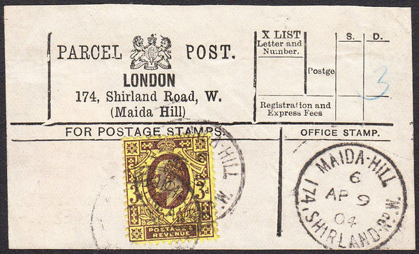 91424 - PARCEL POST LABEL. 1904 label LONDON 174 Shirland ...