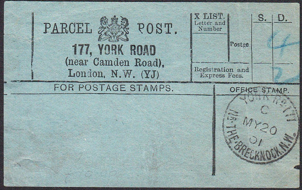 91480 - PARCEL POST LABEL. 1901 blue label 177, YORK ROAD ...
