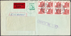 91516 - 1966 EXPRESS MAIL GERMANY TO UK/LUNDY STAMP. Large window envelope (218x110) Germ...