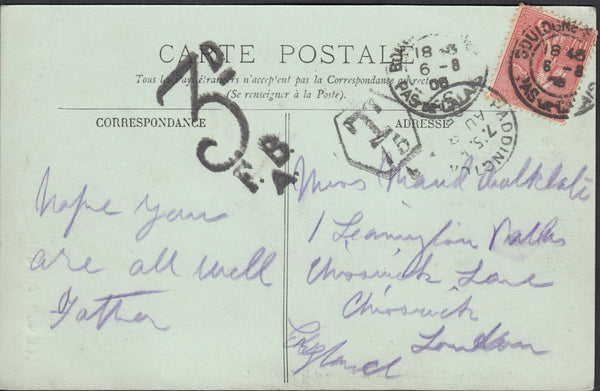 91730 - 1905 UNDERPAID MAIL FRANCE TO LONDON. Post card Boulogne to Chiswic...
