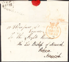 91994 - NORFOLK. 1835 letter Markham to Norwich sent free ...