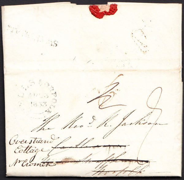 92006 - NORFOLK. 1833 letter Wells to Swaffham redirected ...