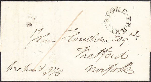 92016 - NORFOLK. 1845 letter Stoke Ferry to Thetford dated...