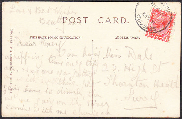 92087 - SUSSEX. 1918 post card of Seaford from Splash Poin...
