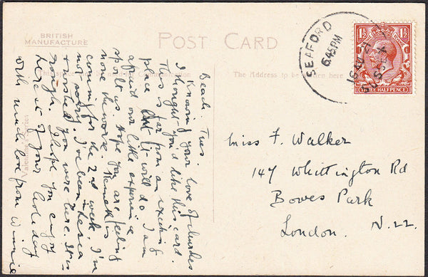 92093 - SUSSEX. 1921 post card Lullington Church to London...