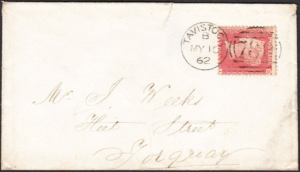 92309 - PL.68 (EI)(SG40) ON COVER. 1862 envelope Tavistock...