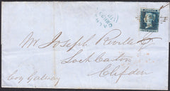 92419 - 2D BLUE Pl. 4 (BD)(SG19) ON COVER DUBLIN TO GALWAY. Letter Dublin to Clifden by Galway with 2d bl...