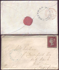 92602 - 1849 MANCHESTER 'CHEETHAM' AND WITHINGTON UDC'S/PL.90 (BE)(SG8). 1849 envelope Manchest...