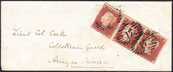93060 - CRIMEAN WAR/PL.194(MH MI MJ)(SG17). 1855 envelope London to Lieut Col. Co...