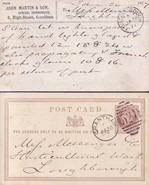 93085 - LINCS. 1877 QV ½d brown post card Grantham to Loug...