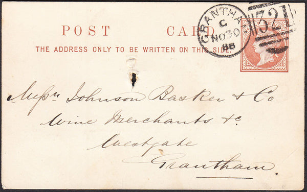 93103 - LINCS. 1888 QV ½d brown post card used locally in ...