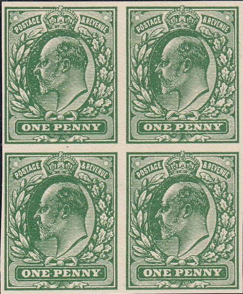 93244 - 1902 KEDVII 1d PLATE PROOF DEEP GREEN WHITE CARD. A fine block of four imperforate plate proof of the 1d value in DEEP GREEN