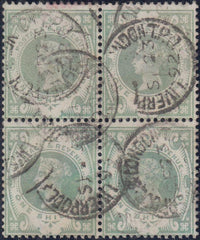 93259 - 1887 1S PALE GREEN (SG211) USED BLOCK OF FOUR.  Good used block o...