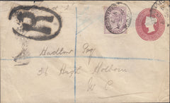 93305 - 1892 REGISTERED MAIL USED WITHIN LONDON/1D LILAC AND 2D S.T.O.
