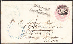 93367 - MISSENT/HAMPSHIRE/ISLE OF WIGHT. 1852 1d pink enve...