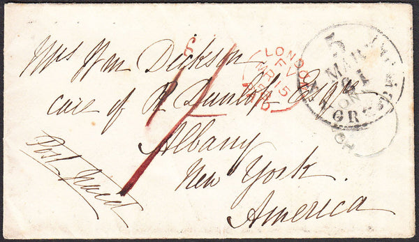 93394 - TRANSATLANTIC/NORFOLK. 1858 envelope Harling to Ne...