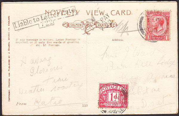 93480 - 1928 UNDERPAID MAIL SEATON TO PARKSTONE. Post card Seaton to Parkstone, Dorset with KG...