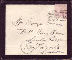 93484 - EDINBURGH DOTTED CIRCLE ON MOURNING ENVELOPE  TO CANADA (RA19)/2½D ROSY-MAUVE PL.9(SG141)(EL).