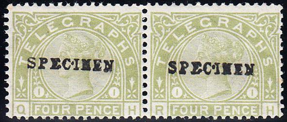 93530 - 1877 4d Telegraph. A good unmounted og horizontal ...
