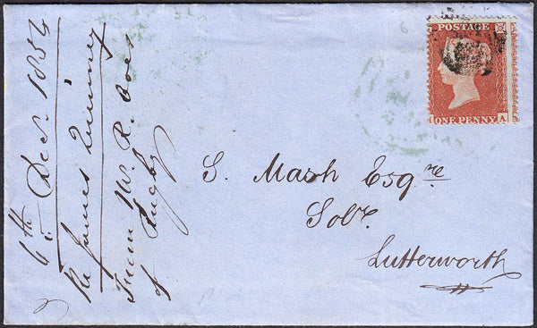93728 - 1854 envelope with letter Rugby to Lutterworth wit...