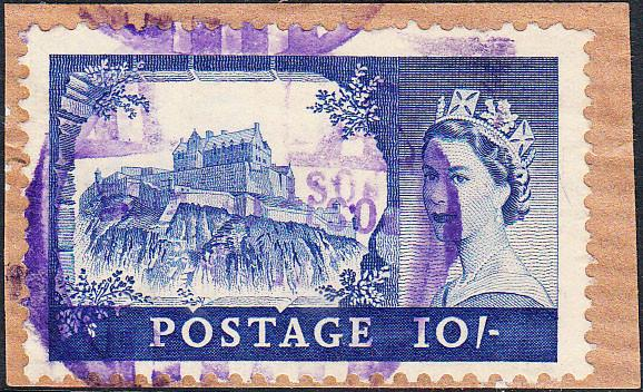 93749 - 1955 10s Castle, fine used on small piece with pur...