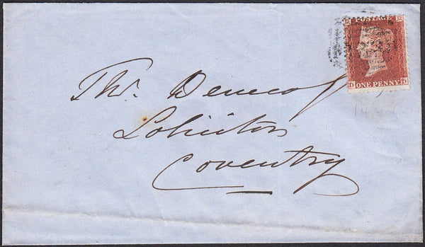 93757 - RES.PL.3 (DD)(SG22) ON COVER. 1855 envelope to Coventry wit...