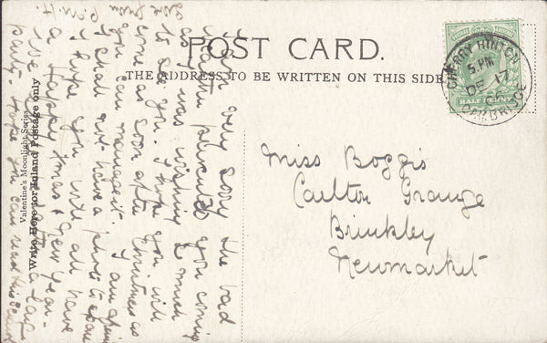93863 - CAMBS. 1906 post card Cambridge to New Market with...
