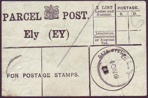 93925 - CAMBS/PARCEL POST LABEL. 1901? label Ely (EY), sta...