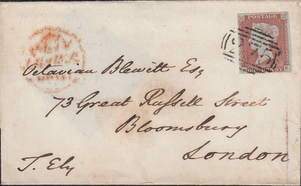 93933 - 1848 CAMBS/'275' NUMERAL OF ELY ON COVER. Wrapper Ely to London with fine four ...