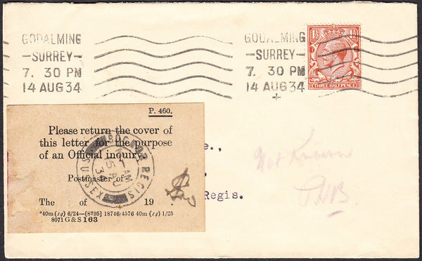 "93978 - ""PLEASE RETURN COVER"" LABEL. 1934 envelope Godalmi..."