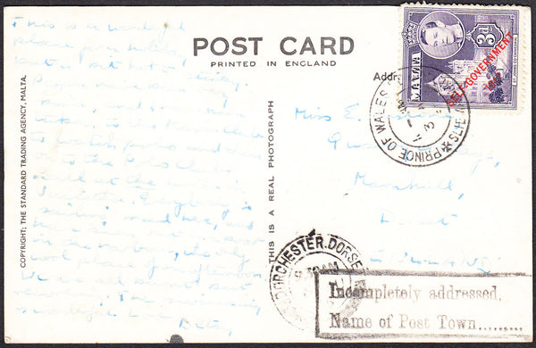 "94038 - 1955 MAIL MALTA TO DORSET/INSTRUCTIONAL HAND STAMP. Post card Malta to Dorset with Malta 3d ""SELF..."
