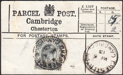 94455 - PARCEL POST LABEL/CAMBS. 1913 label Cambridge/Ches...