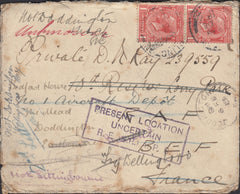 94579 - CAMBS/MILITARY. 1918 envelope Darlington to a priv...