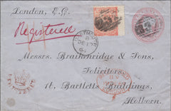 94621 - 1864 REGISTERED MAIL DARTMOUTH TO HOLBORN. 1d pink envelope on blued pa...