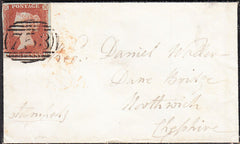 94648 - 1846 SUFFOLK/'NEEDHAM MARKET' HAND STAMP(SK268). Mourning envelope Needham Market to Northwich...