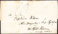 94760 - CIRCA 1820 MAIL ADDRESSED TO 'HIS MAJESTYS SHIP SPITFIRE MILFORD HAVEN'. Undated wrapper (circa 1820), some soiling...