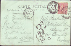 94902 - 1904 UNDERPAID MAIL BOULOGNE FRANCE TO COVENTRY. Post...