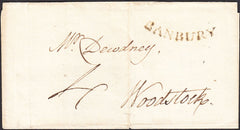 94940 - 1797 OXON/'BANBURY' CONCAVE HAND STAMP (OX10). 1797 wrapper Banbury to Woodstock dated 20th...