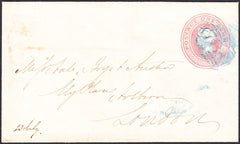 95015 - 1850 '784' NUMERAL OF TENBY IN BLUE/1D PINK. 1850 1d pink Tenby to London c...