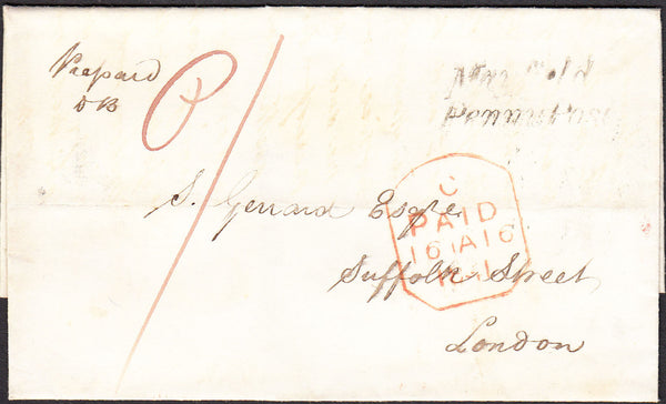 95986 - 1841 SUSSEX/'MAYFIELD PENNY POST' HAND STAMP (SX866). Wrapper Mayfield to London, postage p...
