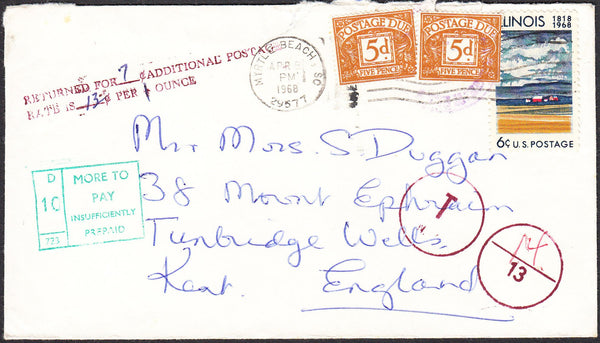 95993 - 1968 underpaid envelope US to Tunbridge Wells with...