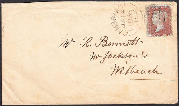 96304 - PL.8 (OH)(SPEC C6) ON COVER. 1856 envelope Cambrid...