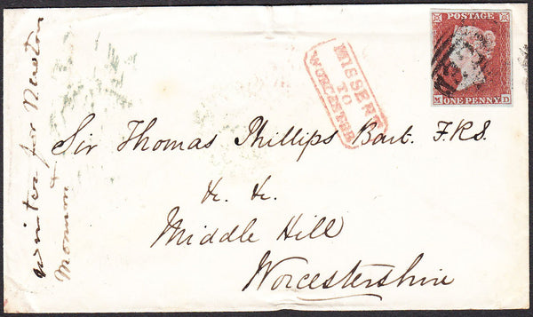 96314 - 1853 WORCS/'MISSENT TO WORCESTER' (WO927)/PL.161(MD)(SG8).  Envelope Grantham to Worcester...