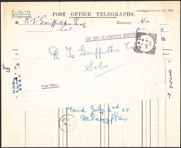 96368 - 1908 'OHMS' TELEPHONE ACCOUNT HAY LOCAL USAGE (BRECKNOCKSHIRE). 1908 Telephone/Telegrap...